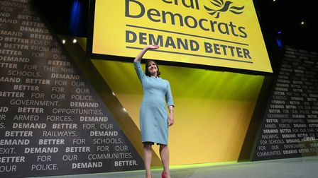 Liberal Democrat leader Jo Swinson after her conference speech. Photograph: Jonathan Brady/PA Wire.