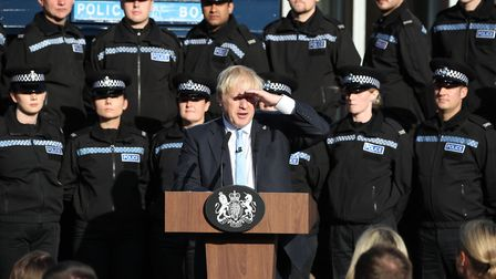 Boris Johnson gives a speech to police officers in West Yorkshire. Picture: Getty Images