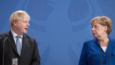 Boris Johnson meeting Angela Merkel in August. His most recent proposals to adjust the backstop rais