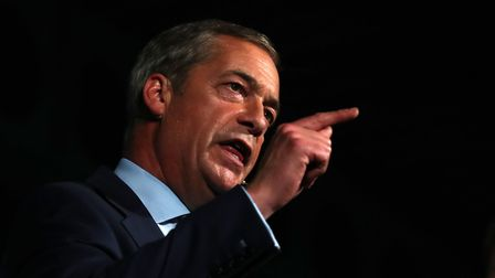 Brexit Party leader Nigel Farage speaks at a Brexit Party rally. Photograph: Gareth Fuller/PA Wire.