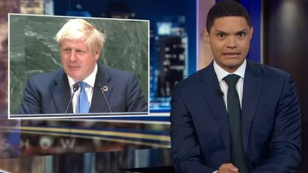 Trevor Noah at the Daily Show displays concern after Boris Johnson's speech to the UN. Picture: The