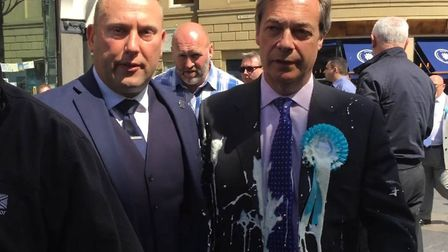 Nigel Farage after he was doused in milkshake during a campaign walkabout in Newcastle. (Tom Wilkins