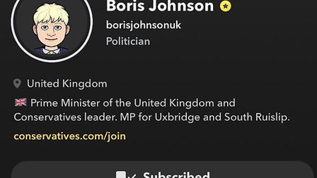 Boris Johnson's profile on Snapchat. Photograph: Snapchat.
