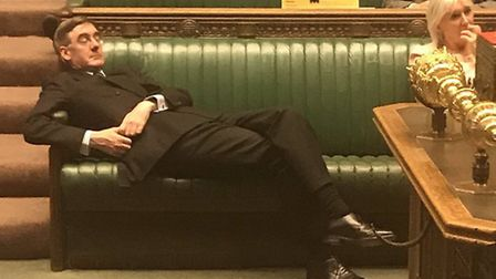 Jacob Rees-Mogg during the emergency debate in the House of Commons. Photograph: Anna Turley/Twitter