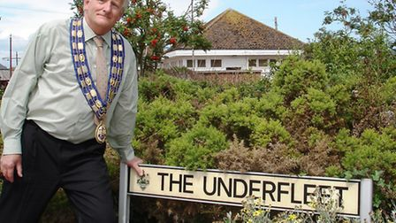 Mayor Peter Burrows at The Underfleet where the public realm is to be named after Seaton's French tw