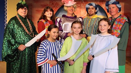 Ali Baba and the Forty Thieves pantomime in rehearsal at Honiton Community College. Pictured are Dav
