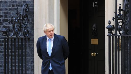 Boris Johnson outside 10 Downing Street, London. Photograph: Gareth Fuller/PA.