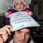Alexis Morris aged three with her dad Mike in Axminster on Saturday morning. Photo by Terry Ife ref