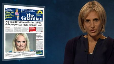 Emily Maitlis appears on Newsnight discussing the newspaper headlines. Photograph: BBC.