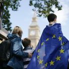 Anti-Brexit campaigners in front of the Houses of Parliament. (Daniel Leal-Olivas/PA)