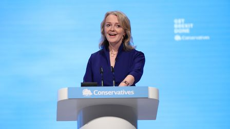 International Trade Secretary Liz Truss speaking at the Conservative Party Conference at the Manches