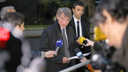 President of the European parliament, David Sassoli, speaks to the media outside 10 Downing Street.