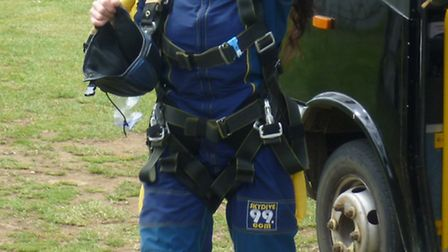 Tracy Gillard pictured after taking part in a tandem sky dive in aid of local boy Jamie Dyer.