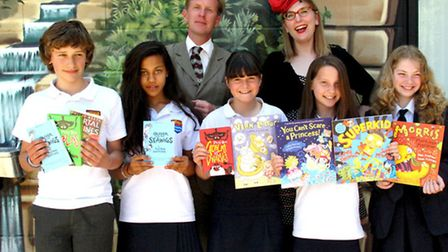 Philip Reeve and Sarah McIntyre with students at Woodroffe School