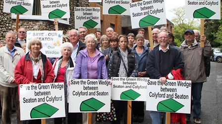 Save the Green Wedge protest at the Knowle council offices by Seaton and Colyford residents. Picture