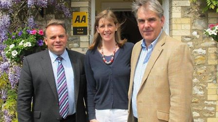 MP Neil Parish (left) with Carrie and Adam Southwell of the Fairwater Head Hotel