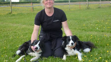 Helen Perryman and agility champ Jinx (right) and her other dog Day.