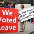 Pro-Brexit voters outside the Houses of Parliament. Photograph: Victoria Jones/PA.