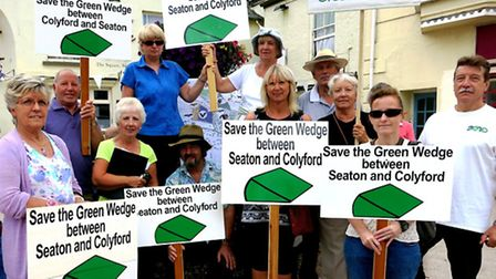 Save the green wedge campaigners in Seaton on Monday. Photo by Chris Carson