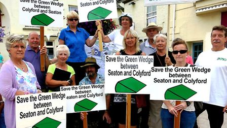 Green wedge campaigners pictured during a demonstration in Seaton earlier this year. Photo by Chris