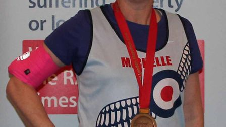 Michelle Bee after completing the London Marathon