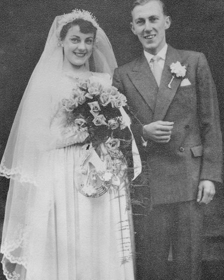 Peter and Barbara Lacey on their wedding day 60 years ago