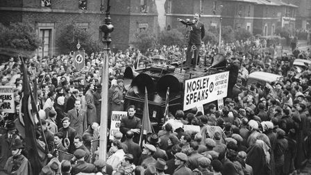 The former leader of the British Union of Fascists Oswald Mosley addresses a large crowd at a meetin