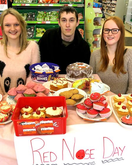 Staff at Axminster Co-op store in West Street made cakes to sell for Comic Relief. Pictured manning