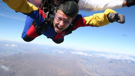 Charlotte during one of her sky dives.