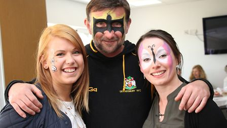 Axminster Tools staff Hannah Fielden, Craig Steele and Maddie Edwards with their painted faces follo