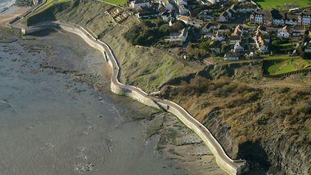 The newly opened section of Lyme's sea defences