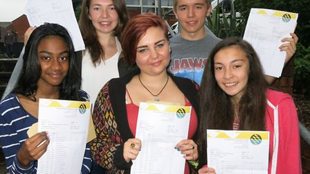Axe Valley Community College students with their GCSE results (l tor) Navishka Rathnayake, Seaton, L