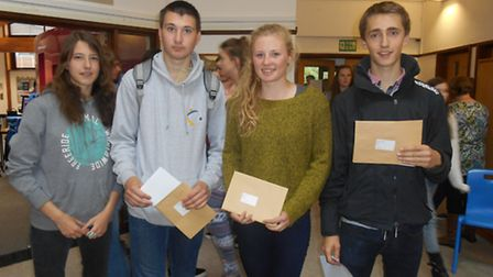 (l-r) Pupils Sophie Land, Ben Prangley, Carys Lilley and James Loader, all 16, collect their results