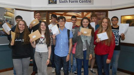 Honiton Community College pupils celebrate their GCSE results.