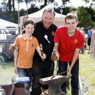 Julian Rowe of Gittisham Forge with his sons Alex and Robert celebrating 125 years of trading. Ref m