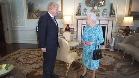 Queen Elizabeth II with Boris Johnson during an audience in Buckingham Palace. Photograph: Victoria