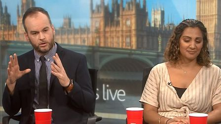 Brendan O'Neill says there 'should be riots' while on Politics Live. Photograph: BBC.