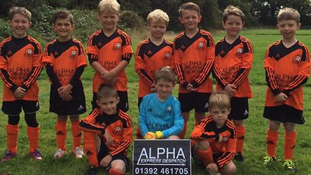 Broadclyst Under-8s: Broadclyst Under-8s: Back row (left to right); Back row: Ethan Board, Charlie E