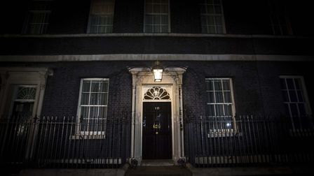 The front door of 10 Downing Street in Westminster. (Rick Findler/PA)