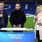 Sky Sports pundits Jamie Carragher (left) and Gary Neville (centre) alongside presenter Kelly Cates.