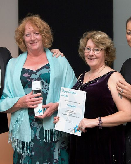Julie Jinks and Tracy Cook from Barley Close with their award.