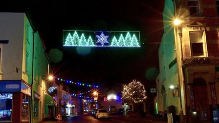The festive lights above New Street in Honiton captured by Steve Mallon. Ref mhh festive Honiton-2.