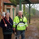Ian Lancaster and his mum Joan at Seaton Junction. Ref mhh 07-17TI 7231. Picture: Terry Ife
