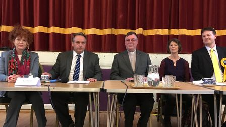 The candidates for the Tiverton and Honiton Parliamentary seat at a previous hustings event.