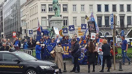 Anti-Brexit protesters in Brussels. Photograph: Twitter.
