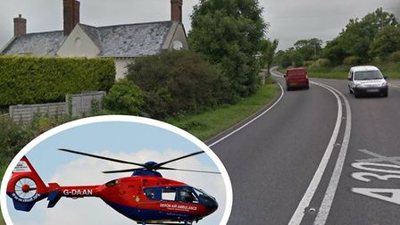 The road between Monkton and Alpins Farm was closed for nearly five hours after a two-car collision