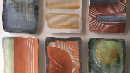 Ceramic wall panels by Bronwyn Williams-Ellis, an elected member of the Royal Cambrian Academy, have