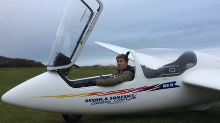 Ross Pratt after completing his first solo glider flight with Devon and Somerset Gliding Club