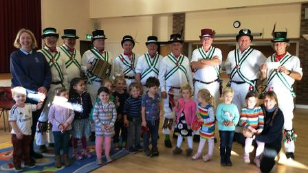 Uplyme Morris Men at the village pre-school. Picture: SUBMITTED