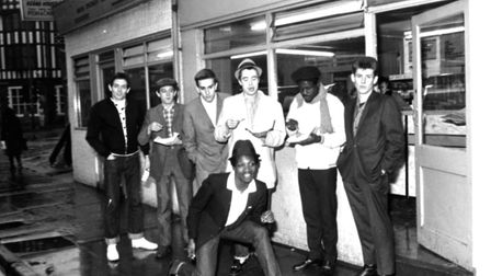 The Specials pop group in chip shop called 'The Parson's Nose' in Bishop Street, Coventry. Photo: Jo
